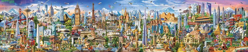 Ilustración creada por Adrian Chesterman para hacer el puzzle La Vuelta al Mundo