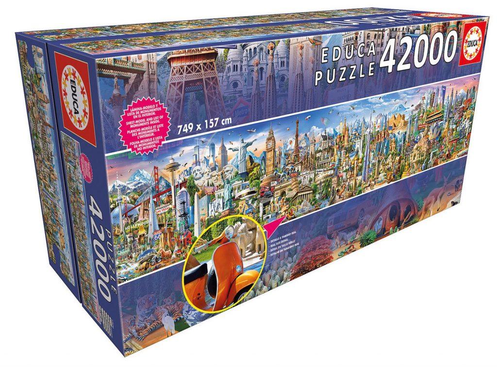 Caja en la que vienen las 42.000 piezas del puzzle