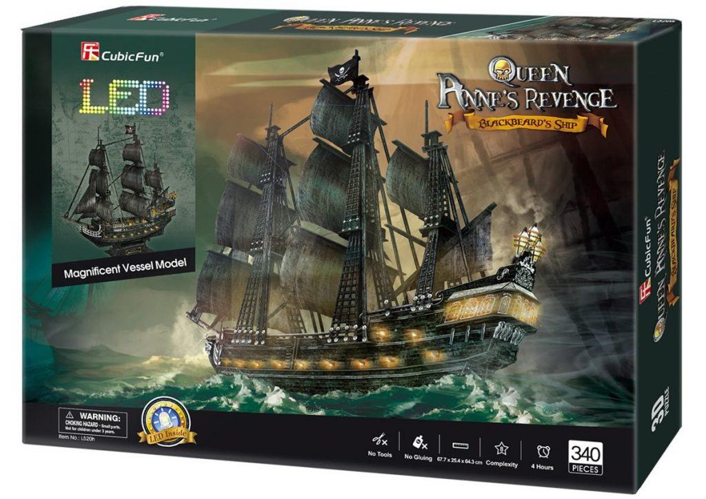 Caja del puzzle 3D edición led del Queen Anne's Revenge de 340 piezas de los fabricantes CubiFun