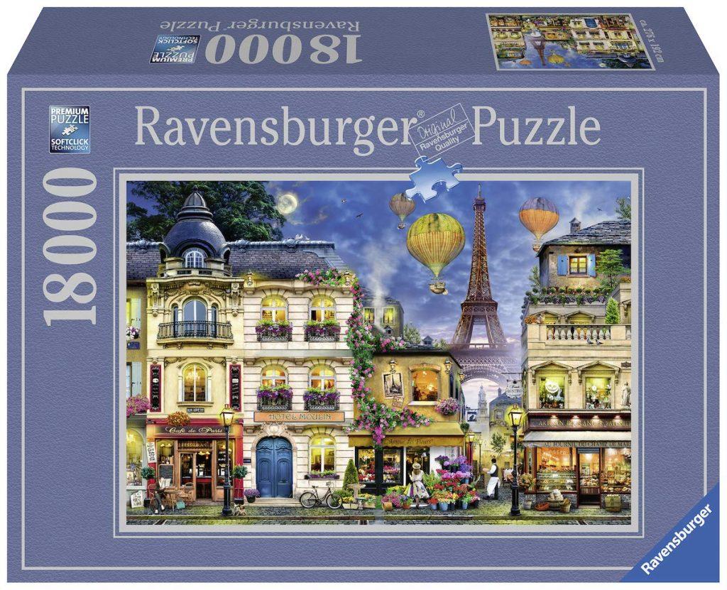 Caja del puzzle Paseo nocturno a París de 18.000 piezas de los fabricantes Ravensburger